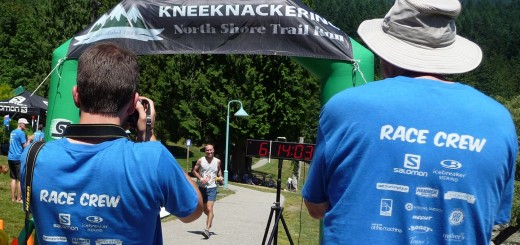 Finish line volunteers at work. (Photo credit: Veaw Cox)